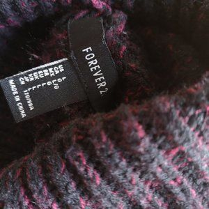 F21 Chunky Knit Turtleneck Sweater burgundy L
